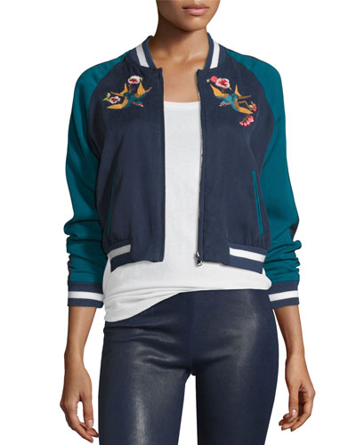 b43fb571d 'Willa' Reversible Swallow Floral Embroidered Bomber Jacket in Blue