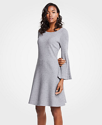 Ann Taylor Petite Pleated Flare Sleeve Sweater Dress In Grey Multi