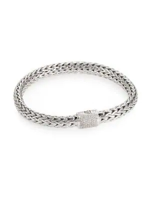 John Hardy Classic Chain Diamond & Sterling Silver Medium Bracelet In No Color