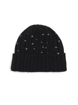 139c0251521 Carolyn Rowan Chunky Rib-Knit Star-Embroidered Beanie In Black ...