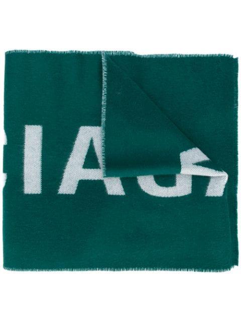 Balenciaga Logo Scarf In Green