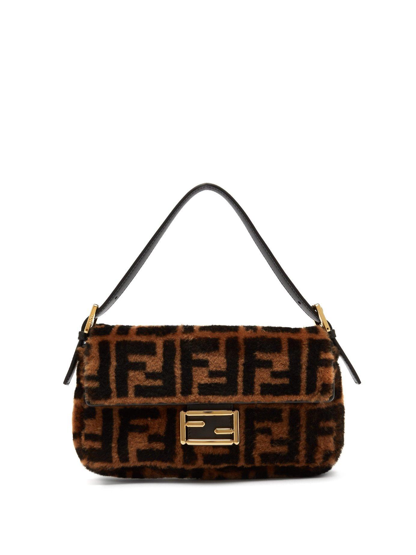 30c9f4beaf7b Fendi - Baguette Logo Print Shearling Shoulder Bag - Womens - Black Brown