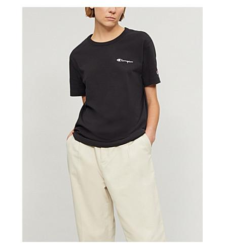 Champion Logo-Print Cotton-Jersey T-Shirt In Black