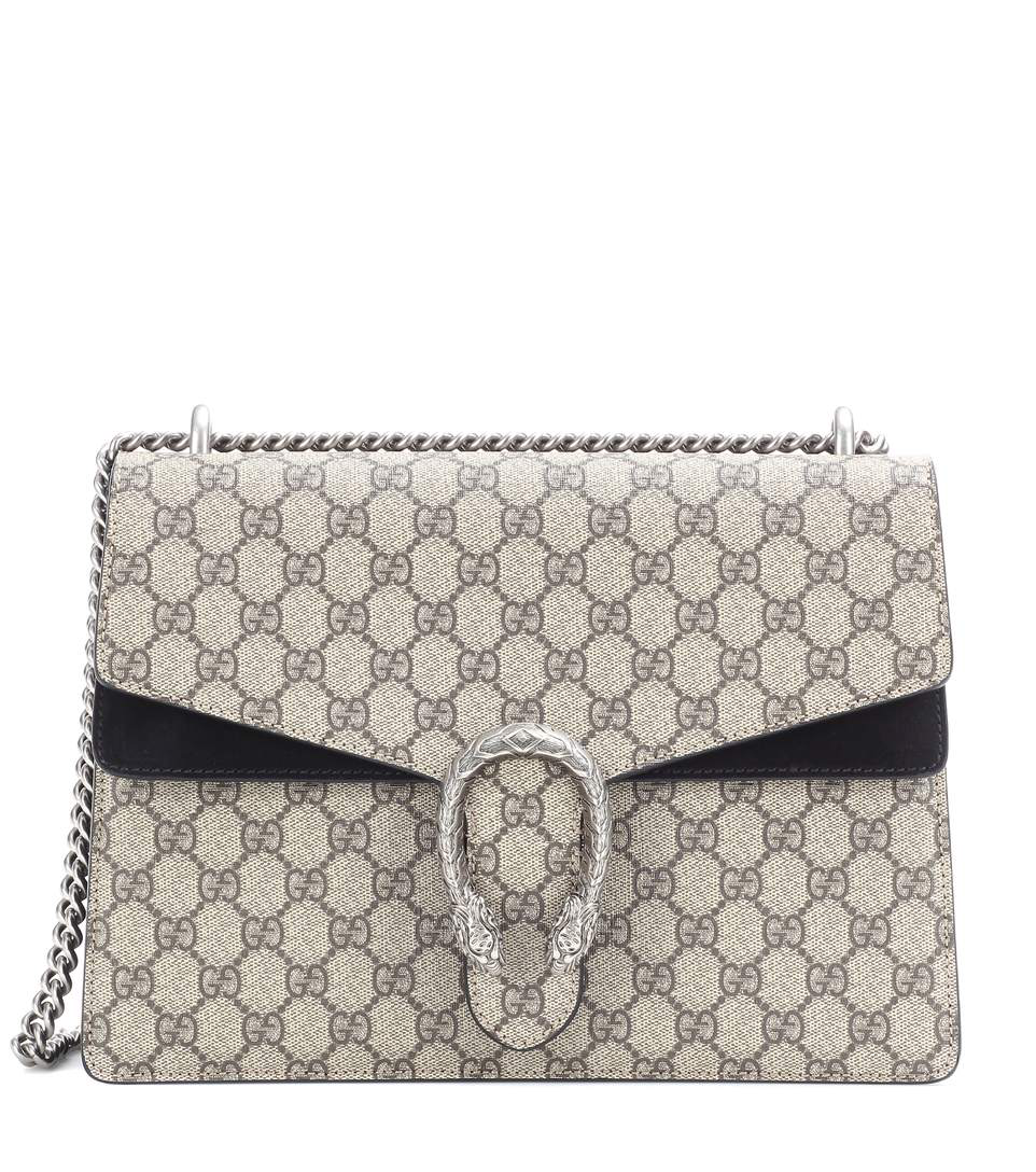 7bbf0f47a248 Gucci Dionysus Gg Supreme Medium Coated Canvas And Suede Shoulder Bag In  Beige