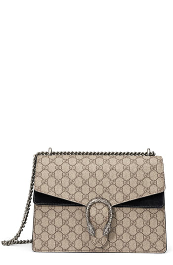 3e8622158e7 Gucci Dionysus Gg Supreme Medium Coated Canvas And Suede Shoulder Bag In  Beige