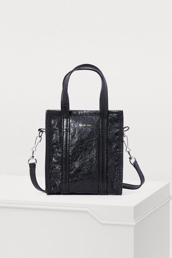 6bcb34d331 Balenciaga Arena Leather Bazar Extra-Extra-Small Shopper Tote - Black