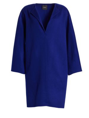 Theory Rounded Wool-Blend Coat In Cosmic Blue