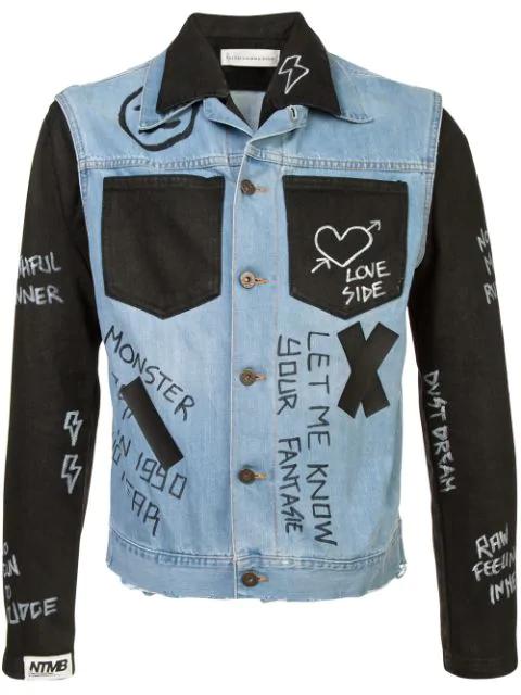 Faith Connexion Contrast Panel 'doodle' Denim Jacket In Blue ,black
