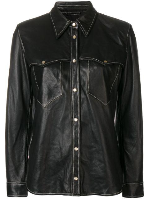 Isabel Marant Nile Leather Shirt In Black