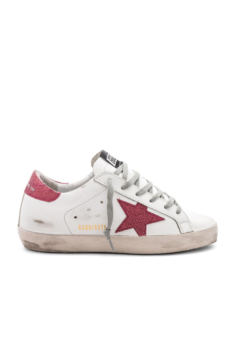 Golden Goose Superstar Sneaker In White/rose Glitter
