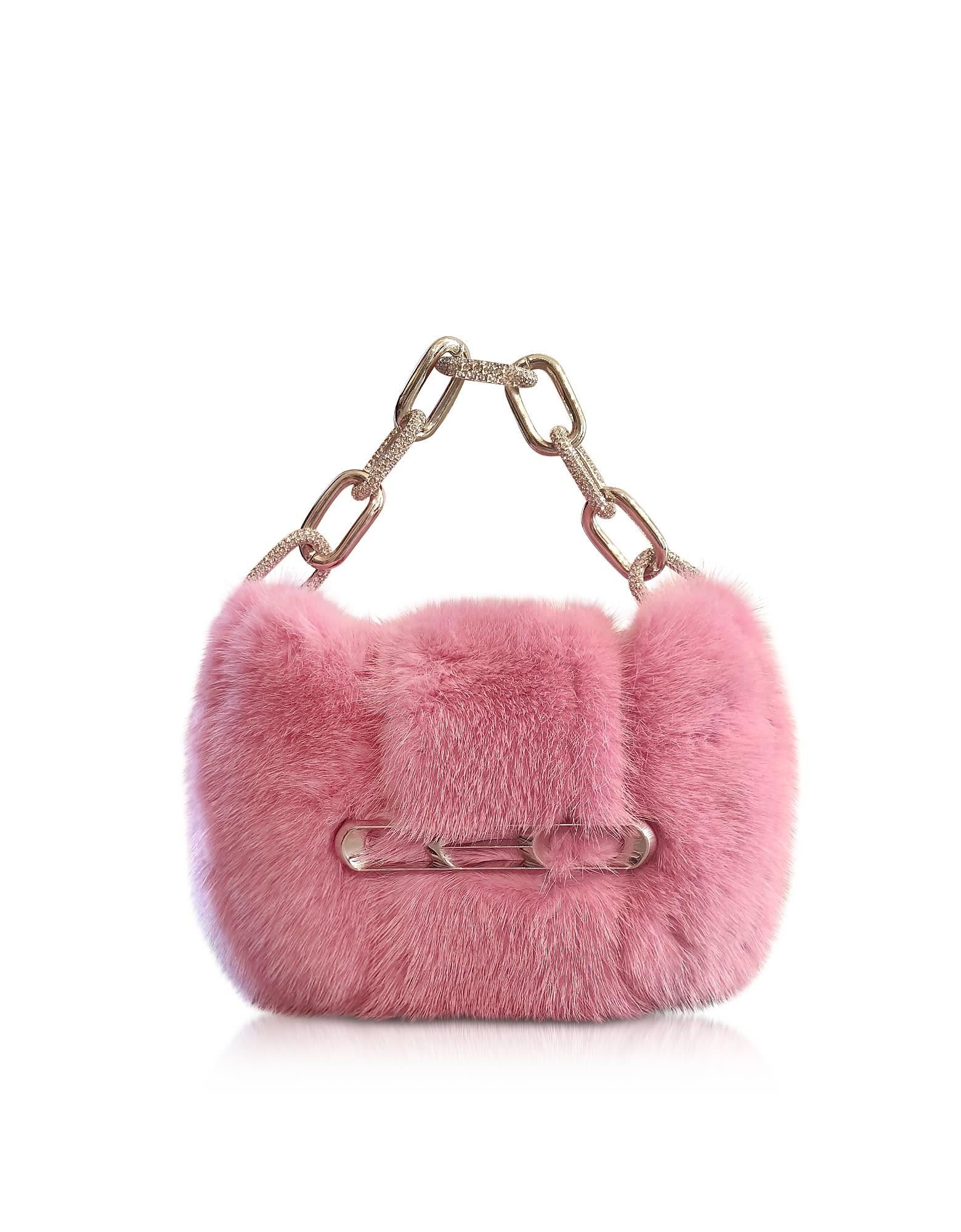 Alexander Wang Fur Micro Mini Bag W/chain Strap In Azalea