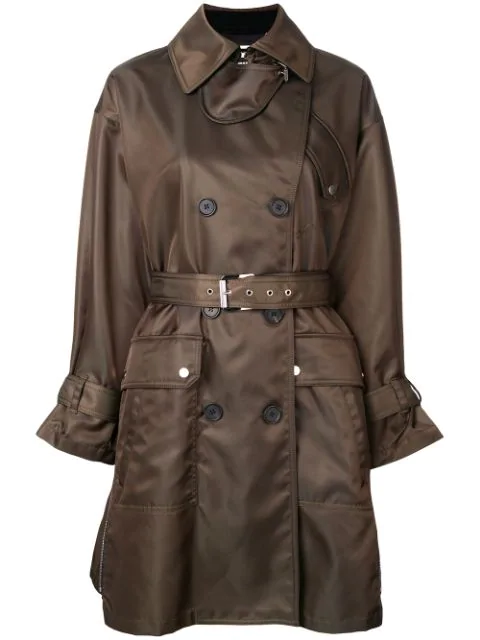 Barbara Bui Double Breasted Belted Coat In Green