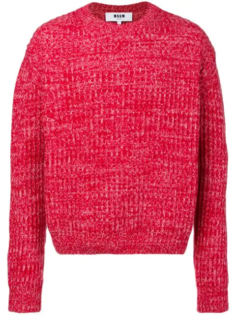 Msgm Chunky Mesh Knit Sweater - Red
