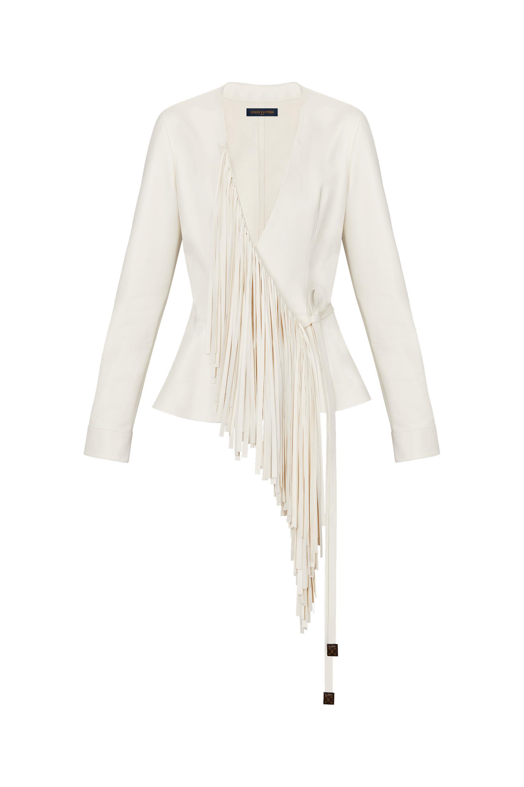 a2fd25ee1c19f Louis Vuitton Embroidered Lambskin Wrap Blouse In Blanc | ModeSens