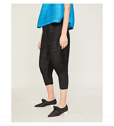 Pleats Please Issey Miyake Cropped High-rise Pleated Trousers In Black