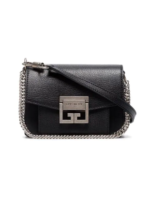 Givenchy Gv3 Mini Textured-Leather Shoulder Bag In Black