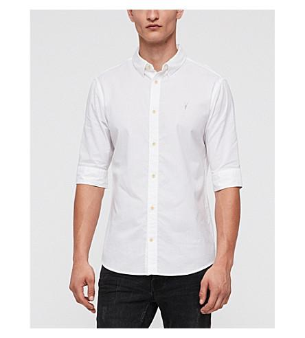 Allsaints Fuller Short-sleeved Cotton Shirt In White
