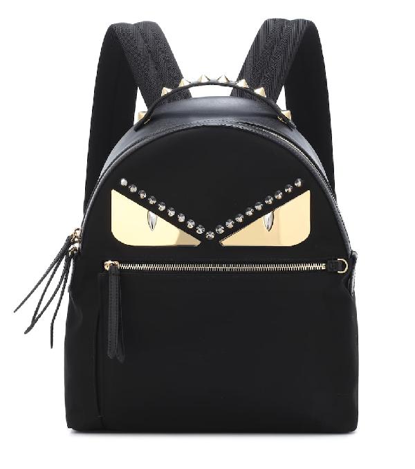 1c61f43aa4e8 Fendi Monster Eyes Nylon   Leather Backpack In Black