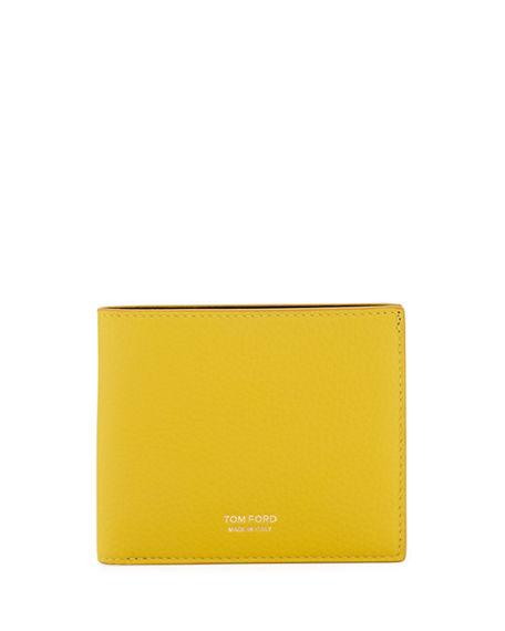 Tom Ford Men's Leather Bi-fold Wallet In Yellow