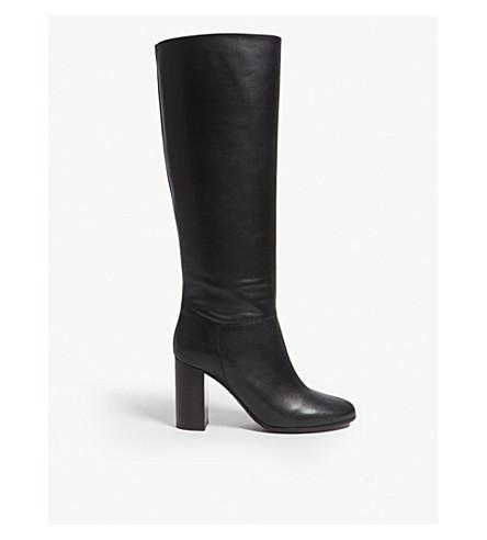 Maje Leather High Boots In Black