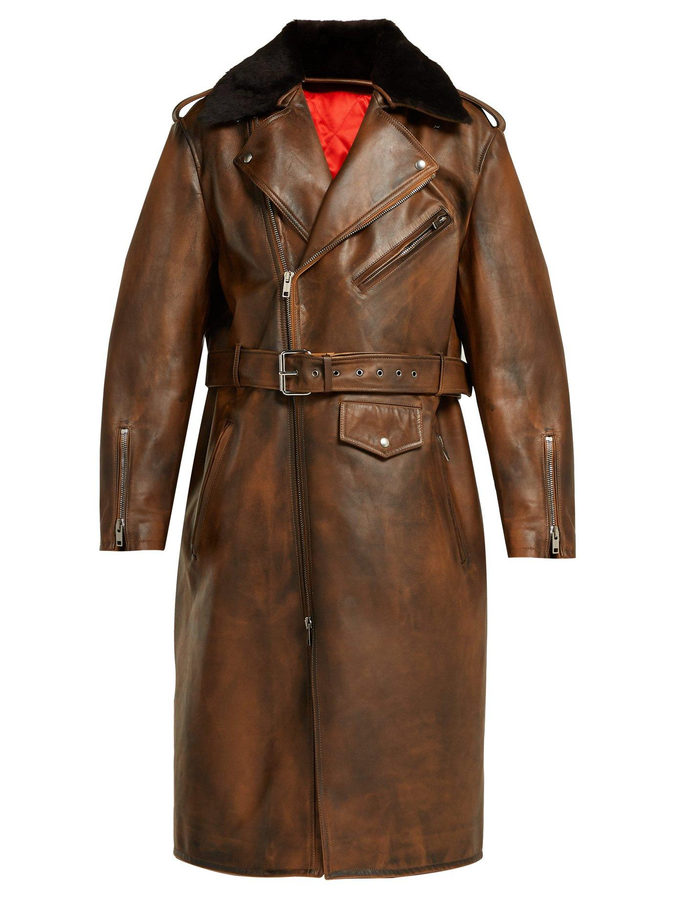 Calvin Klein 205w39nyc Shearling-collar Leather Coat In Brown