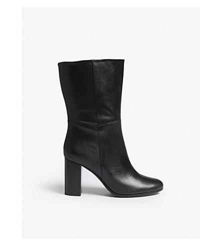 Maje Leather Ankle Boots In Black