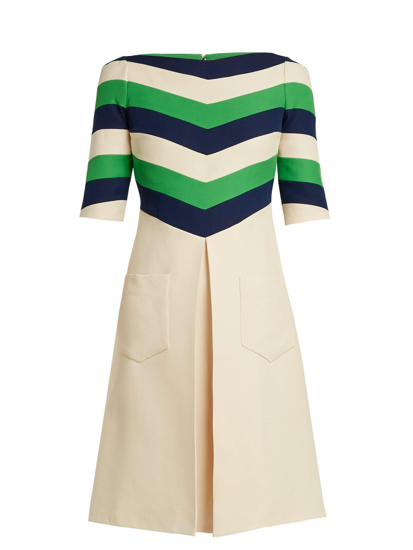 Gucci - Chevron Striped Wool Blend Dress - Womens - White Multi