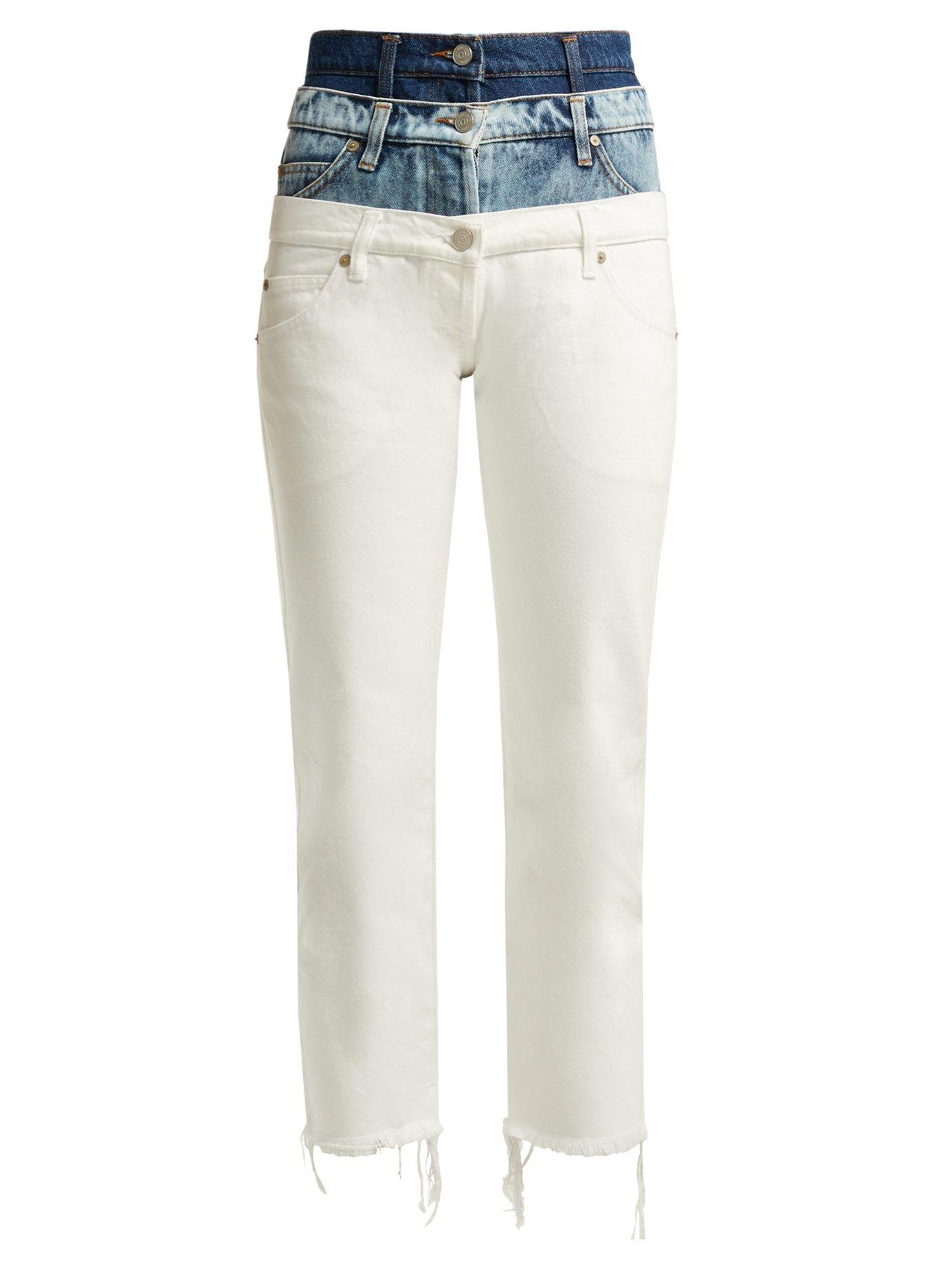 Natasha Zinko Triple Waistband Slim-fit Cotton Jeans In White