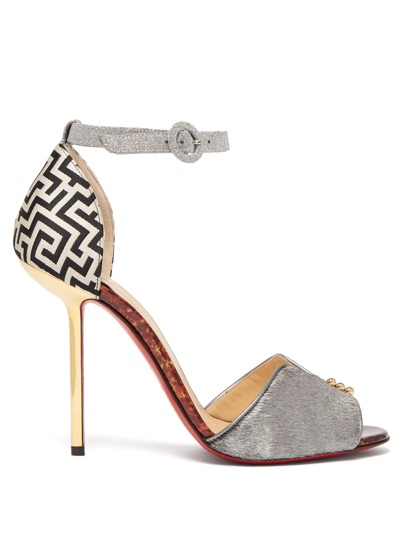 Christian Louboutin Notte Bella 100 Leather Sandals In Multi