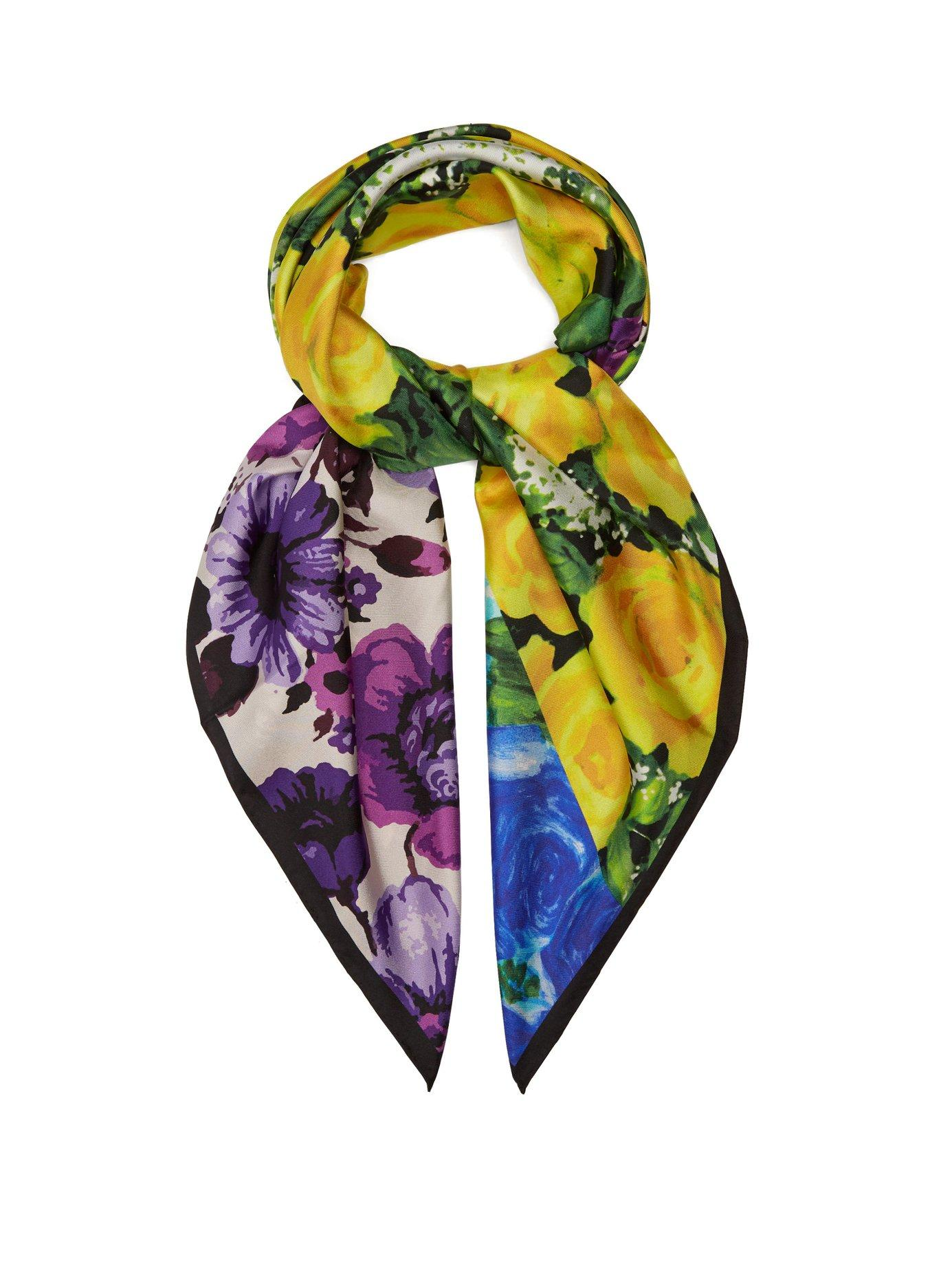 Richard Quinn Floral-print Silk-twill Scarf In Multi