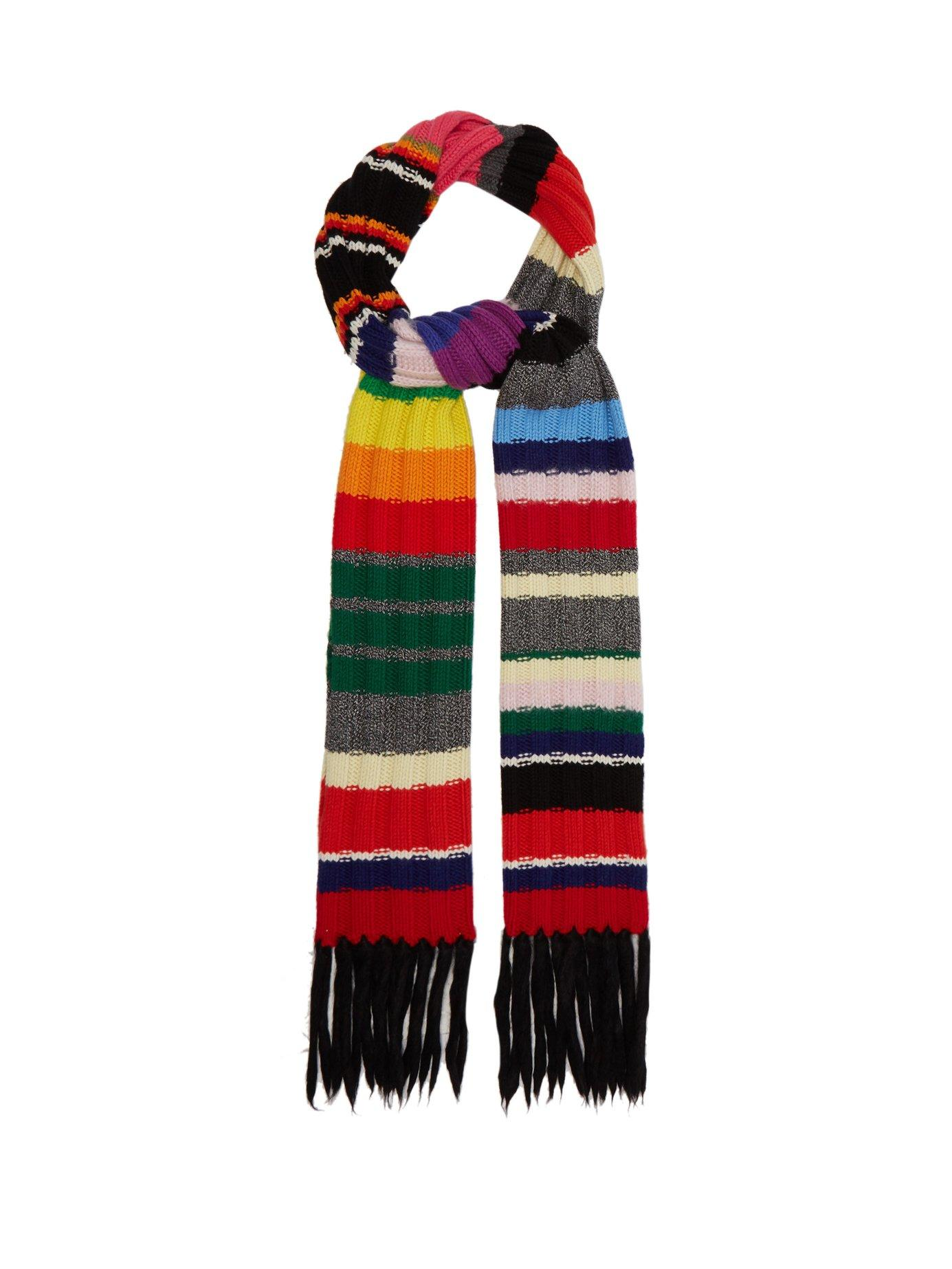 Burberry Rainbow-striped Cashmere-blend Scarf