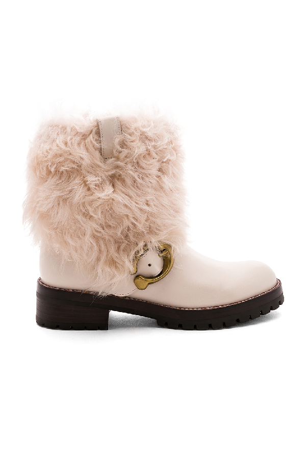 Coach Leighton Shearling-cuff Leather Buckle Boots In Chalk