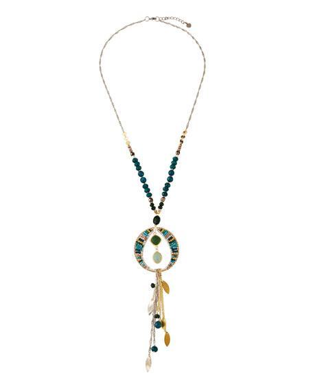 Nakamol Crystal Tassel Dangle Necklace, Green