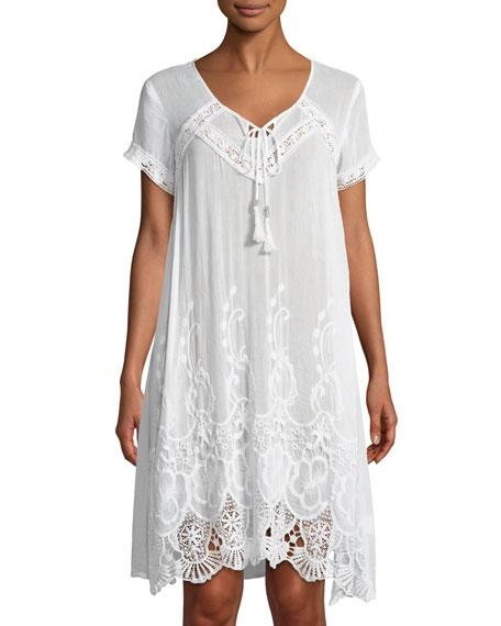 Saffire Short-sleeve Crochet-trim Peasant Dress In White