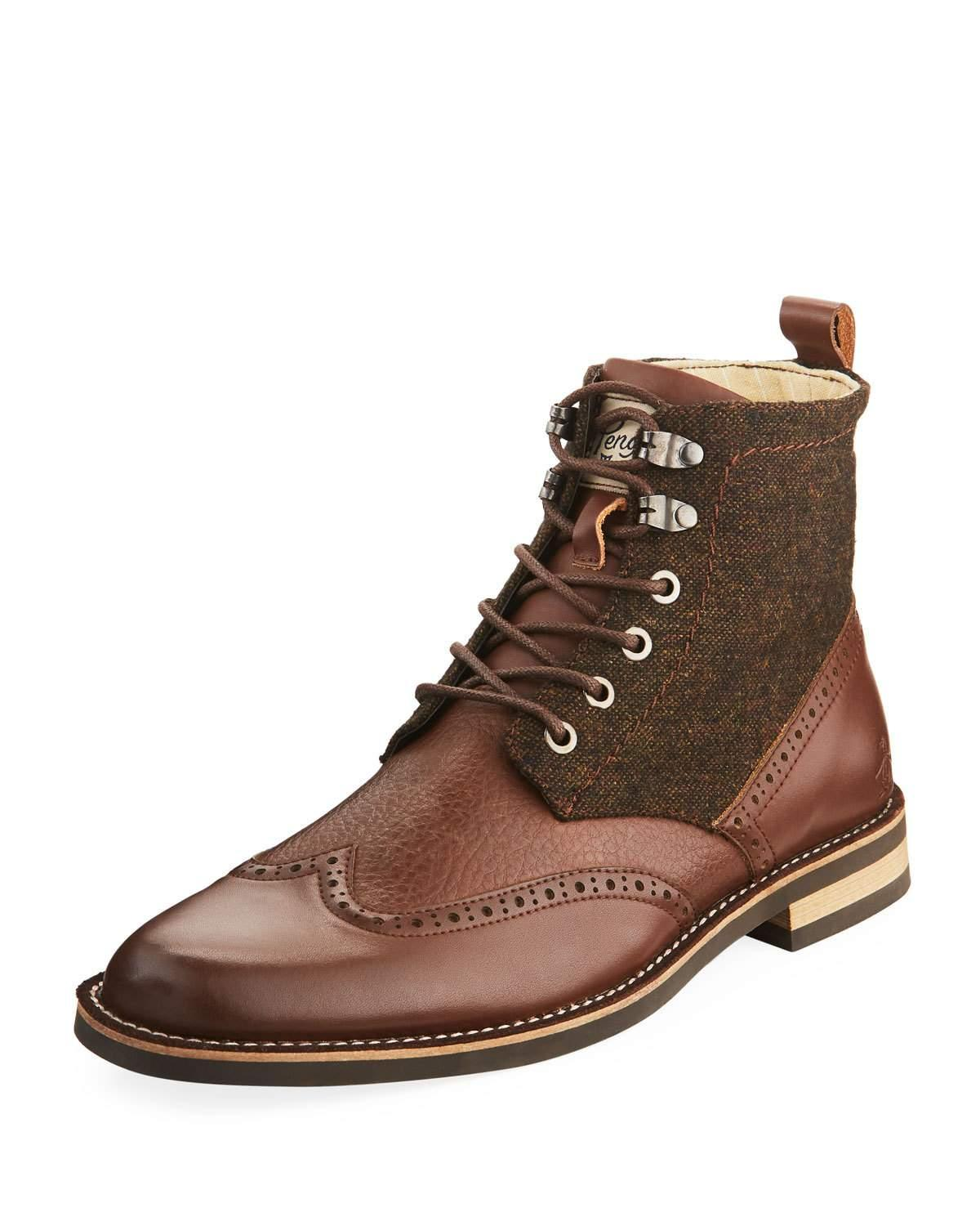 Original Penguin Men's Nathan Leather & Flannel Wing-tip Boots, Brown