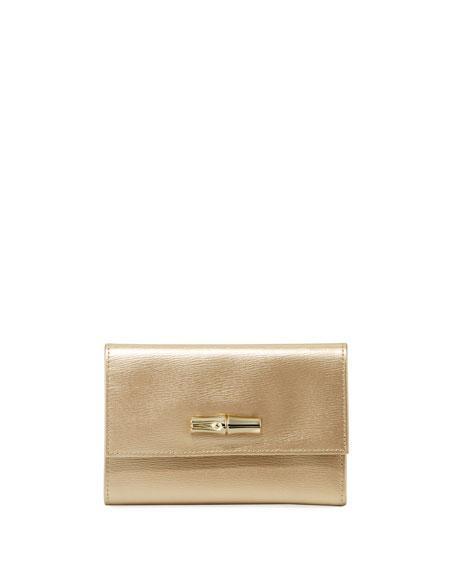 Longchamp Roseau Small Metallic Leather Wallet In Gold