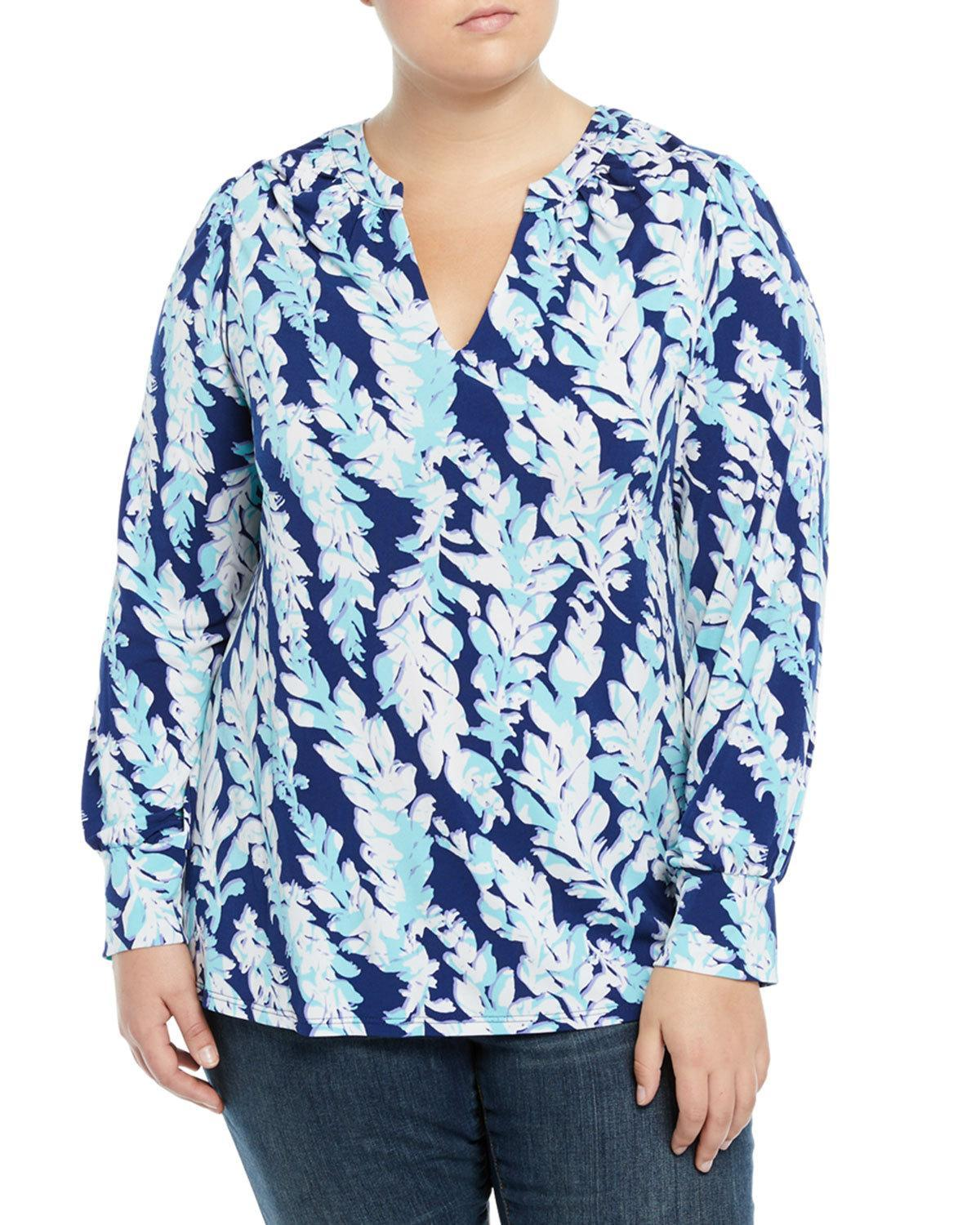 Neiman Marcus Bishop-sleeve V-neck Tunic, Plus Size In Willow
