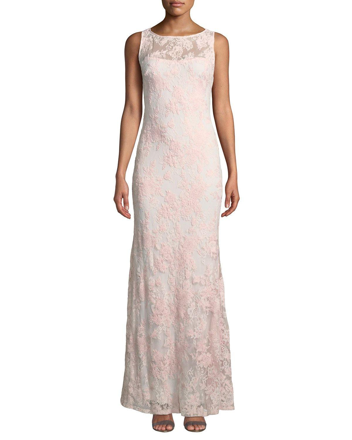 Karl Lagerfeld Sleeveless Lace Illusion Mermaid Gown In Rose