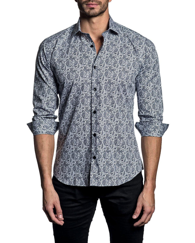 Jared Lang Men's Paisley-print Long-sleeve Button-down Shirt In White/black