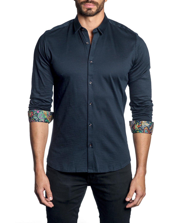 Jared Lang Men's Long-sleeve Button-down Shirt W/ Paisley Facing In Navy
