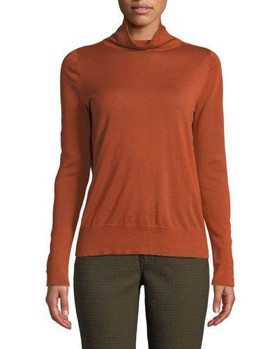 Lafayette 148 Modern Long-sleeve Wool Turtleneck In Orange