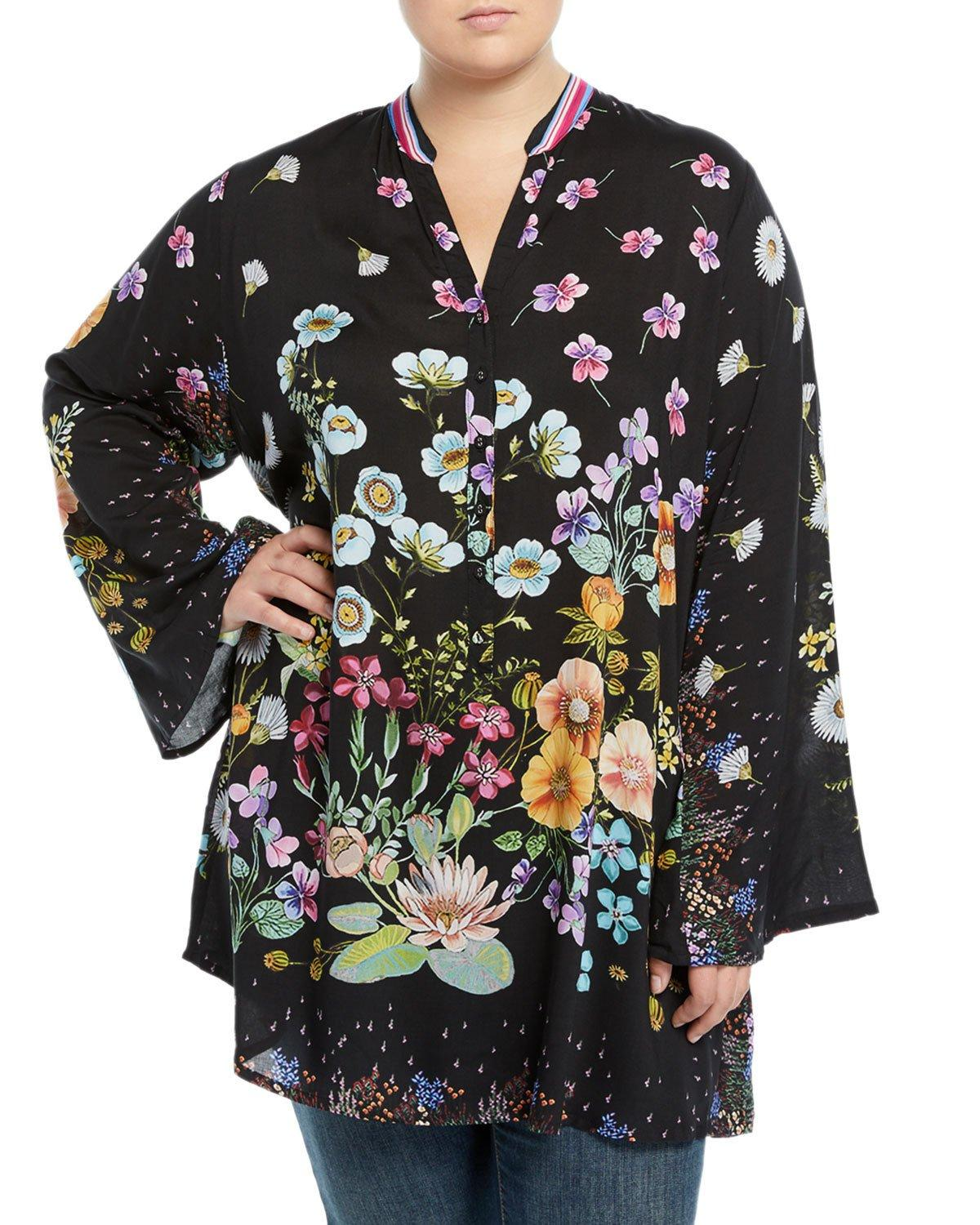 Johnny Was Lentino Floral-print Tunic, Plus Size In Multi