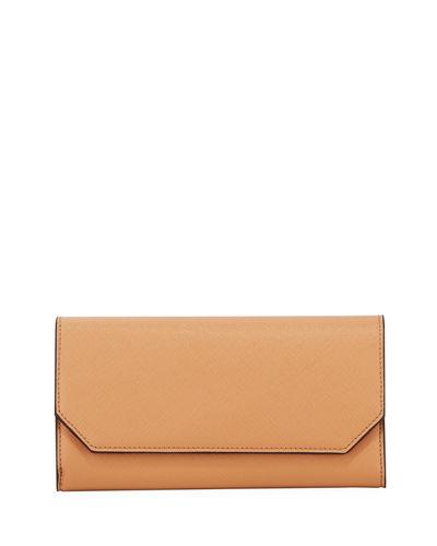 Neiman Marcus Faux-saffiano Flap Wallet On A Chain In Camel