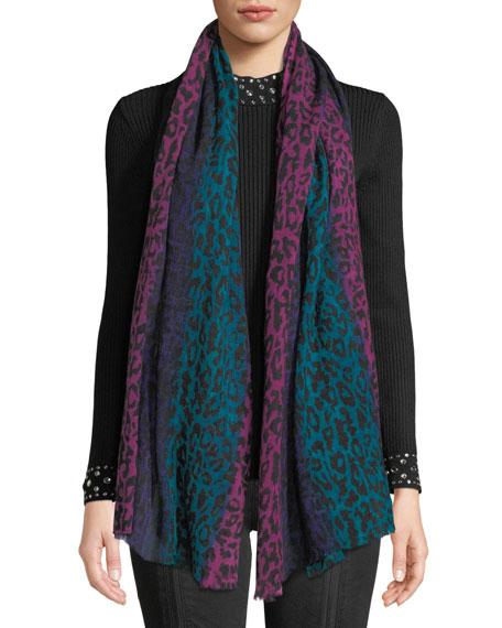 Neiman Marcus Ombre Animal-print Sheer Wool Scarf In Pink/blue