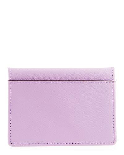 Neiman Marcus Saffiano Mirror Bi-fold Wallet In Lilac