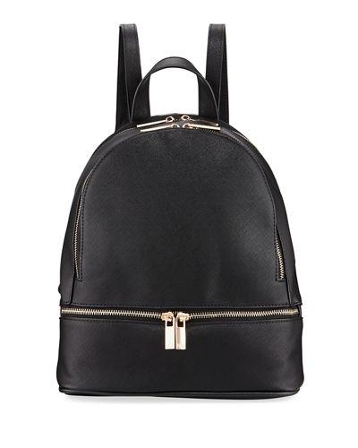 Neiman Marcus Faux Saffiano Backpack With Rose-tone Hardware In Black