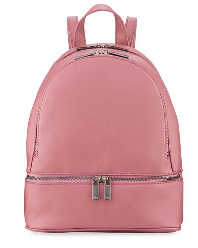 Neiman Marcus Faux Saffiano Backpack With Rose-tone Hardware In Dusty Mauve