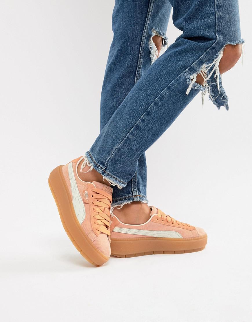 Puma Platform Trace Corduroy Pink Sneakers - Orange