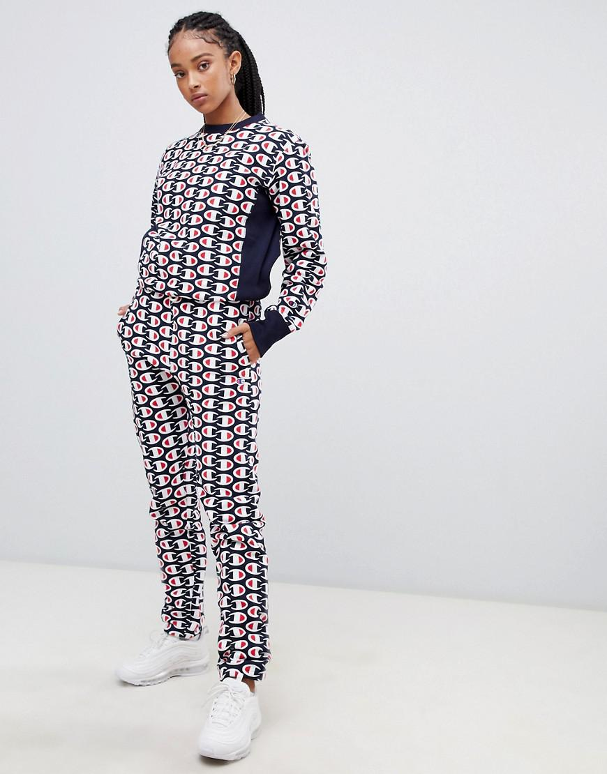 dc63f6a7e89c Champion Tracksuit Bottoms In All Over Print Reverse Weave Two-Piece - Navy