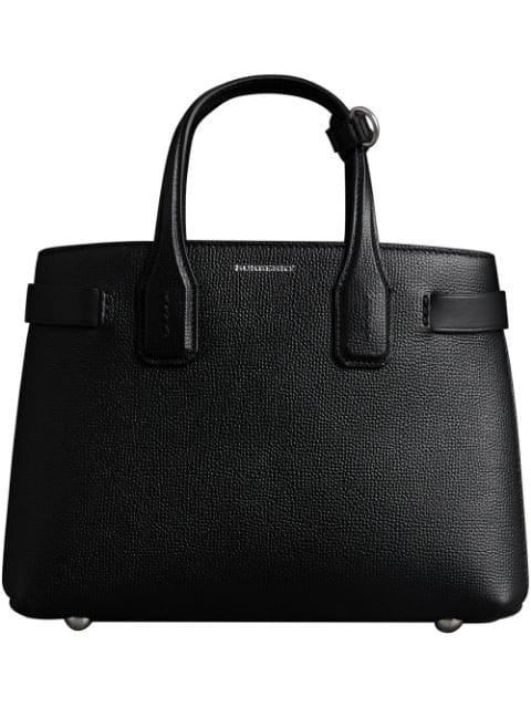 Burberry The Small Banner In Leather In Black ,orange